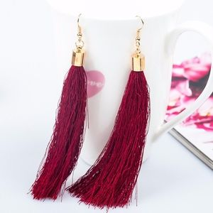 Boho Red Fringe Thread Tassel Drop Dangle Earrings